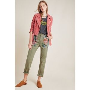 Anthropologie Relaxed Embroidered Trousers